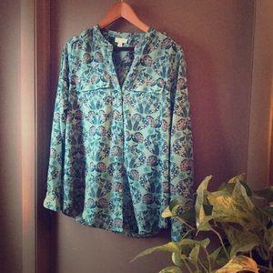Aqua Peacock pattern Dress shirt